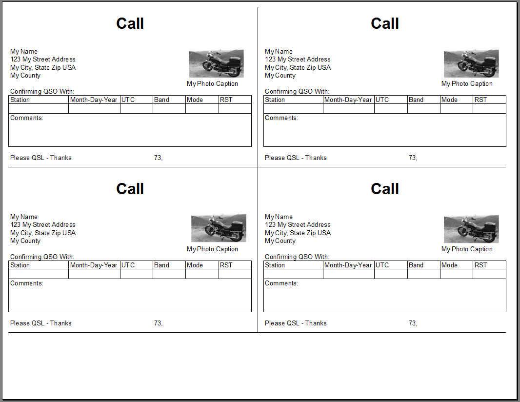 QSL Cards From Excel Spreadsheet
